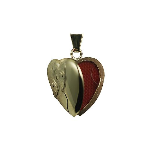 9ct Gold 21x19mm half hand engraved heart shaped Locket
