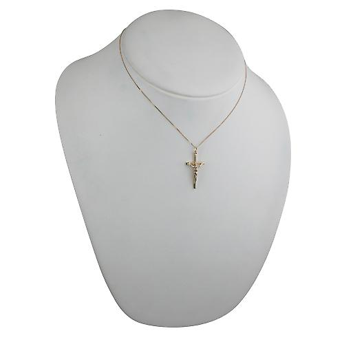 9ct Gold 31x16mm solid block Crucifix Cross with a curb chain