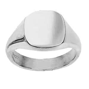 9ct White Gold 14x13mm plain solid cushion Signet Ring Size V