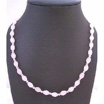 Rose Quartz Beads w/ Chinese Crystals Long Necklace Wear Double Strand