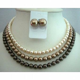 Handcrafted 3 Strands Pearls Swarovski Pearls Necklace Set