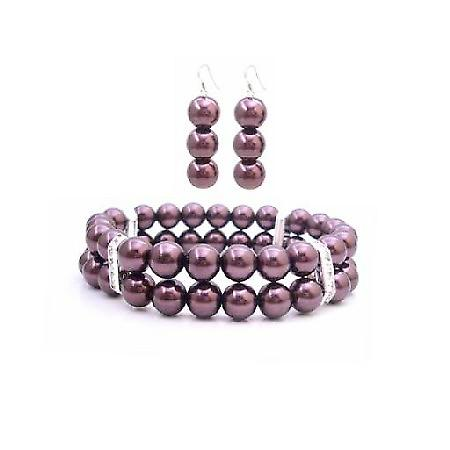 Burgundy Pearls Double Stranded Bracelet & Earrings Jewelry Set