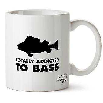 Hippowarehouse Totally Addicted To Bass Fishing Printed Mug Cup Ceramic 10oz