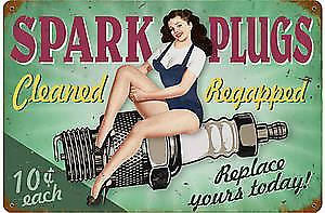 Spark Plugs rusted metal sign    (pst 1812)