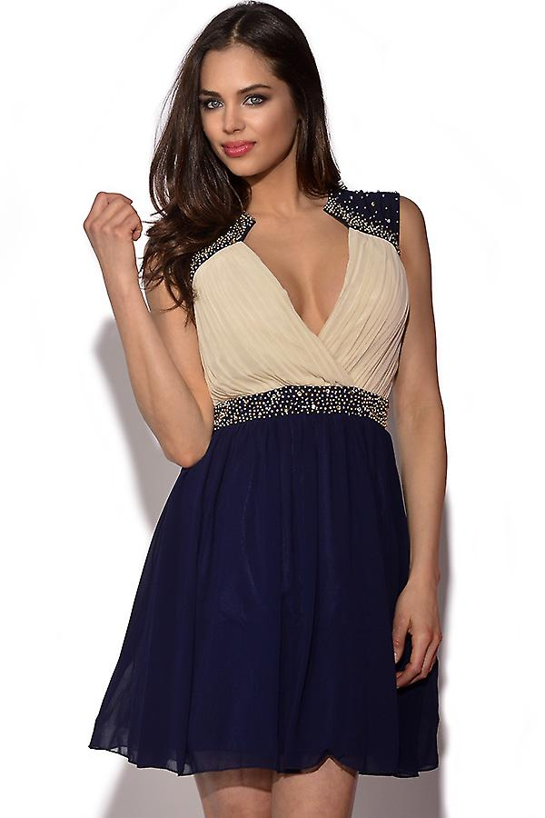 Little Mistress Embellished Crossover Prom Dress