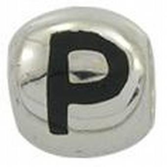 TOC BEADZ 925 Silver Initial P 9mm Slide-on Bead