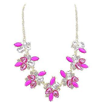 Ladies farverig blomst stil juvel erklæring Swarovski krystal halskæde