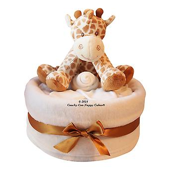 New Baby Nappy Cake gift with giraffe
