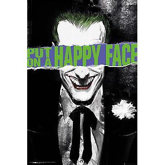 DC Comics poster Joker Happy Face gezet op een gelukkig gezicht