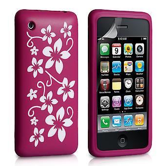 YouSave Accessories iPhone 3G 3GS Floral Silicone Case Dark Pink