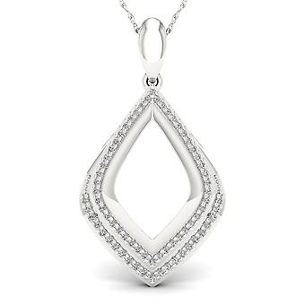 IGI Certified S925 Sterling Silver 0.2Ct TW Diamond Accent Double Drop Necklace