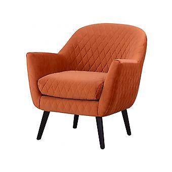 Libra Furniture Orange Velvet Quilted Armchair