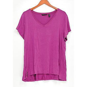 H by Halston Women ' s plus top Essentials V-hals korte mouw roze A306231