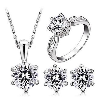 Platinum Plated 6 Prong Cubic Zircoina Diamond Set