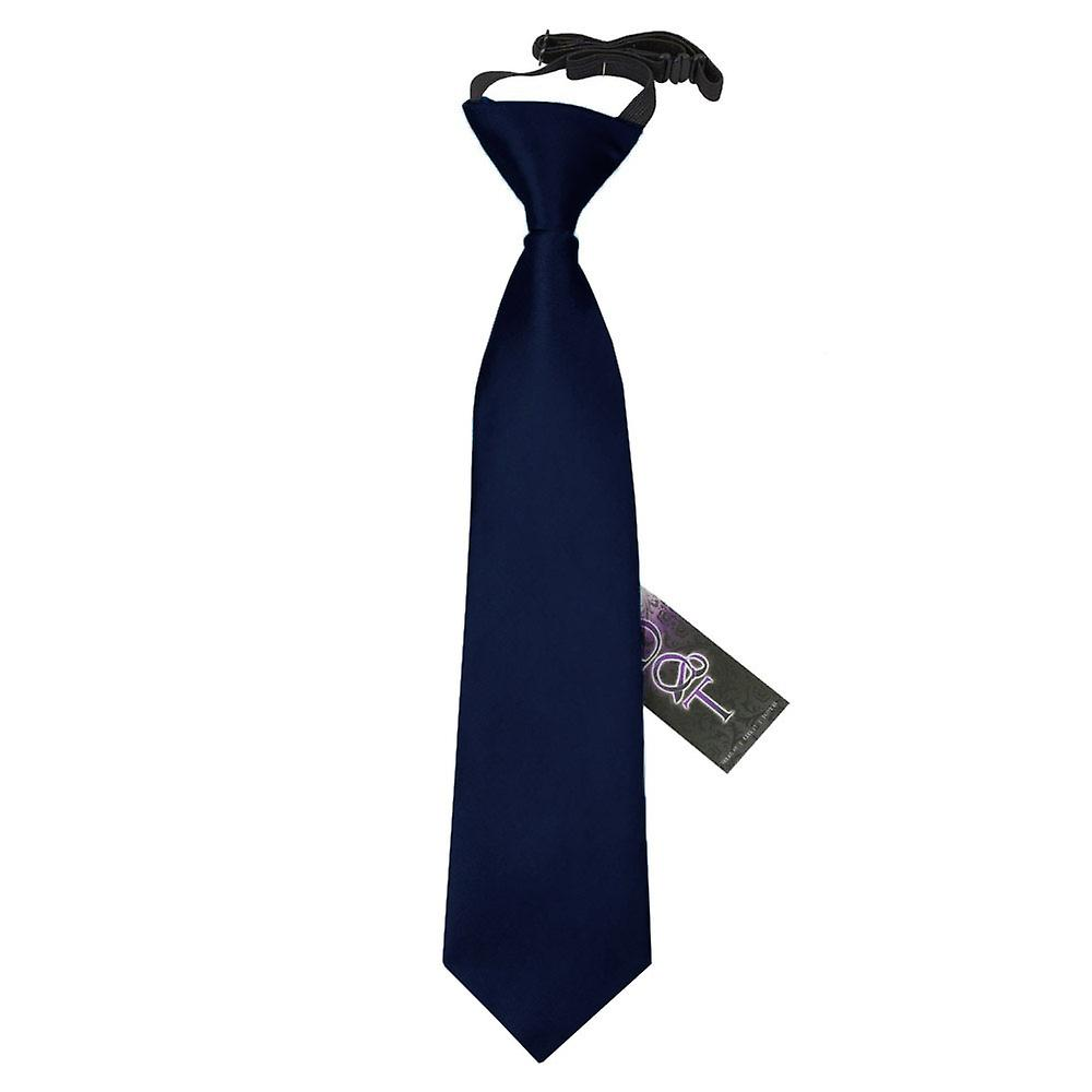 Boy's Navy Blue Plain Satin Pre-Tied Tie (2-7 years)