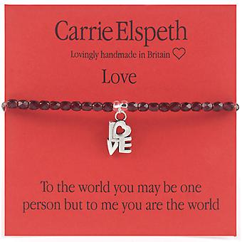 Carrie Elspeth Silver Love Sentiment Stretch Bracelet