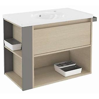 Bath+ 1 Drawer Cabinet + Shelf With Porcelain Basin Oak-Grey 80CM