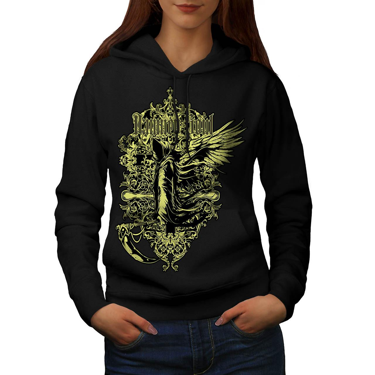 Damned Soul Death Axe Hell Angel Women Black Hoodie | Wellcoda