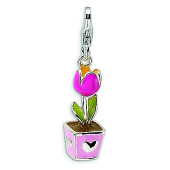 Sterling Silver 3-D Pink Enameled Potted Tulip With Lobster Clasp Charm - Measures 31x7mm