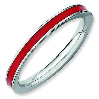 Sterling Silver Stackable Expressions Red Enameled 2.25mm Ring - Ring Size: 5 to 10