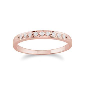 Gemondo 9ct ouro Rose 0,10 ct estilo clássico meia eternidade anel de diamante