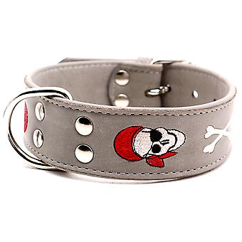 Doggy Things Pirate Dog Leather Collar Grey 50cm