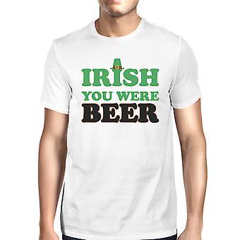 Irish You Were Beer Men's White Shirt Hilarious Shirt Patrick's Day