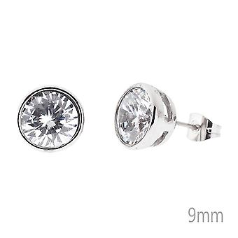 Iced out bling stainless steel earrings - BEZEL round