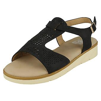 Ladies Down To Earth Low Wedge T-Bar Sandals F10722