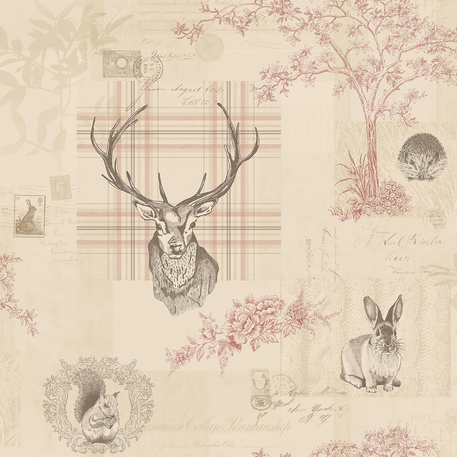 Animal Print Wallpaper Woodland Stag Rabbit Trees Flowers Cranberry Linen