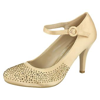 Ladies Anne Michelle Heeled Party Shoe With Diamante Detail And Ankle Buckle Fastening