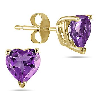 6mm Heart Shape Amethyst Earrings in 14k Yellow Gold