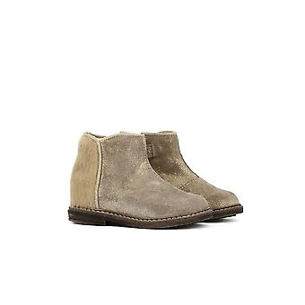 Pom D'Api Pom D'Api Girls Ankle Boot | Retro Back Golden Horsy Taupe Suede & Glitter Boot