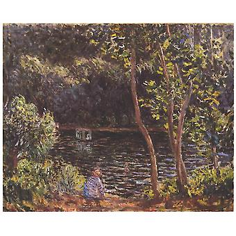 Claude Monet - The atelier boat Poster Print Giclee