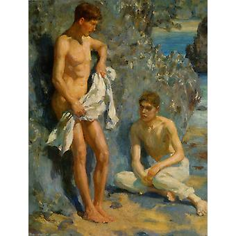 Henry Scott Tuke - After the bath Poster Print Giclee