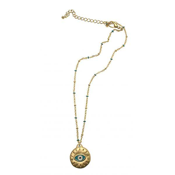 W.A.T Matt Gold And Turquoise Bead Evil Eye Pendant