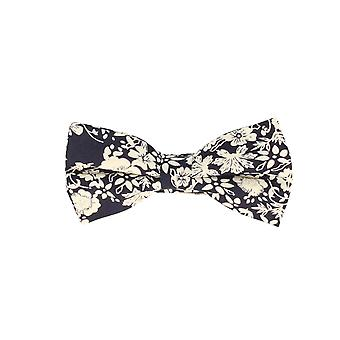 Snobbop-bound fly Navy blue white floral loop cotton bow tie
