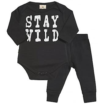 Spoilt Rotten Stay Wild Baby Babygrow & Baby Jersey Trousers Outfit Set