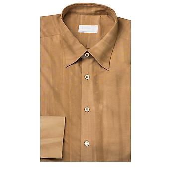 Prada Men's Vintage Wash Spread Collar Cotton Dress Shirt Brown