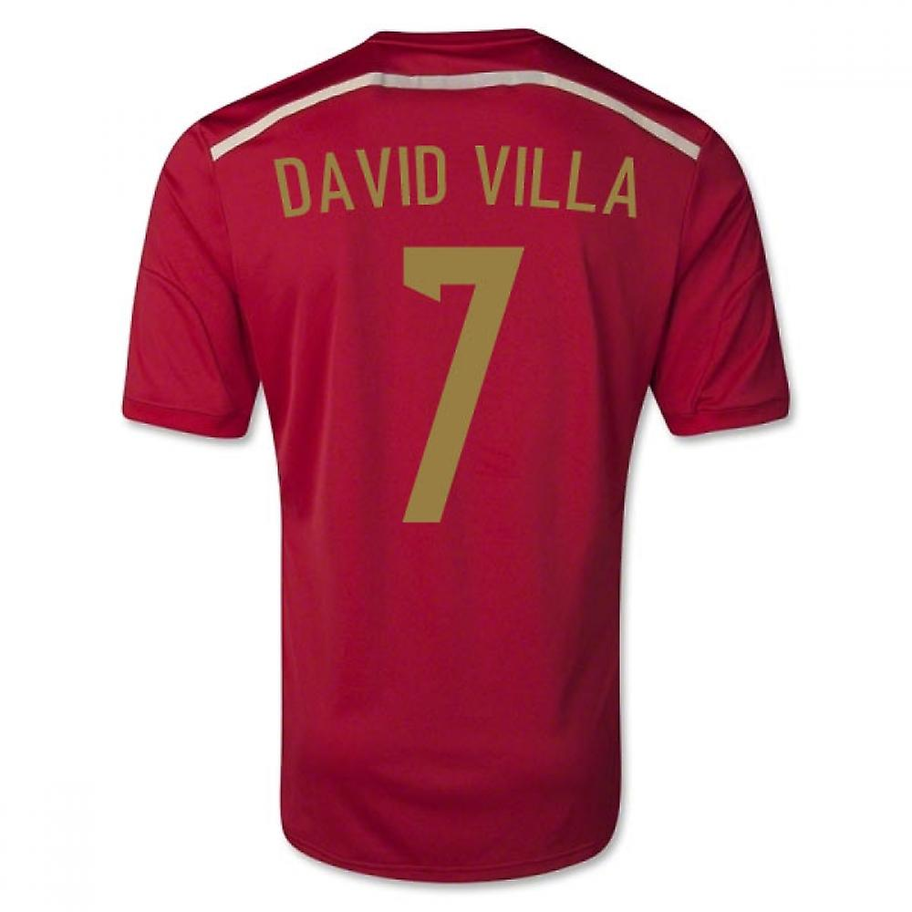 2014-15 Spanien World Cup Home Shirt (David Villa 7) - Kinder