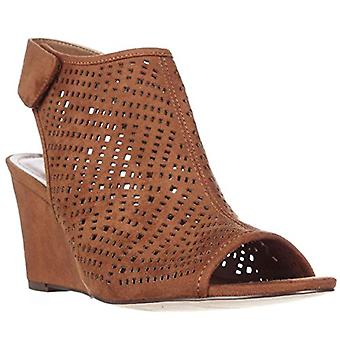 S.C. Heather Perforated Wedge Caged Sandals - Toffee