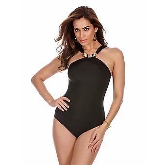 Miraclesuit 6503083 Women's Solid Colour Bijoux Soft Cup Control Swimsuit Black 12