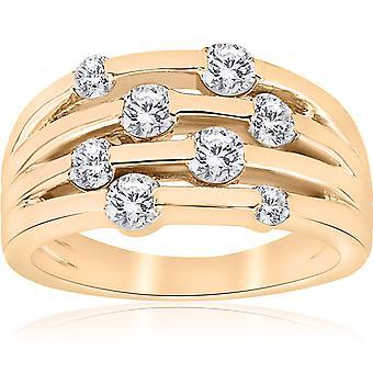 1 ct イエローゴールド本物ダイヤモンド 14 K 右手レディース ファッション多行リング