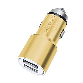ONX3 (Gold) Quick Charge Dual Port USB Full Aluminium Cased Car Charger Bullet Adaptor (3.1AMP/24W) With Break Glass Safety Hammer For Microsoft Lumia 550