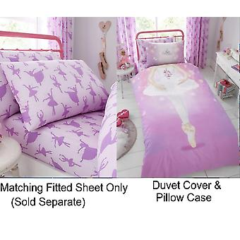 Ballerina Dance Girl Kids Single Pink Duvet Quilt Cover Children Bedding Set