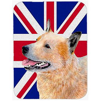 Australian Cattle Dog with English Union Jack British Flag Glass Cutting Board L