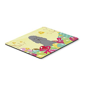 Easter Eggs Poodle Silver Mouse Pad, Hot Pad or Trivet