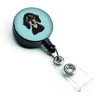 Checkerboard Blue Smooth Black and Tan Dachshund Retractable Badge Reel