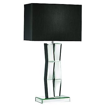 Black Wood Table Lamp With Mirrored Glass And Black Shade - Searchlight 5110bk