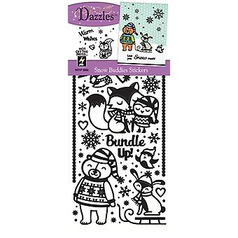 Dazzles Stickers-Snow Buddies-Black, Clear Foil DAZ-2593